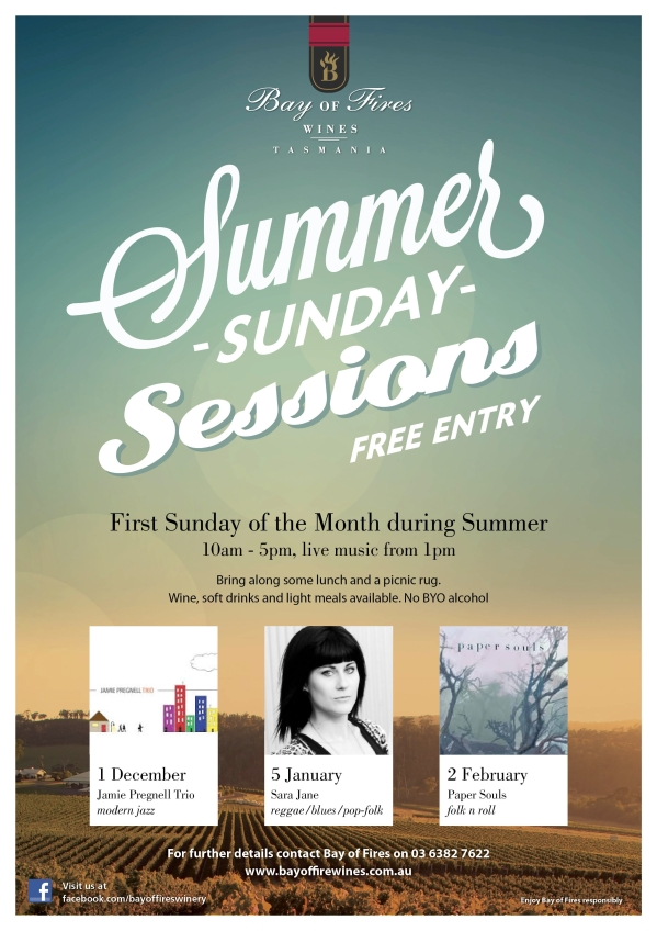Bay of Fires Summer Sunday Sessions Poster 2013-14